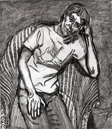 Lucian Freud, Bella in Her Pluto T-Shirt 1995, Etching