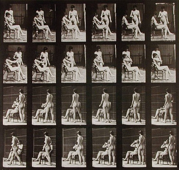 Eadweard Muybridge, Woman Brings a Cup of Tea; Another Takes the Cup and Drinks 1887, Collotype