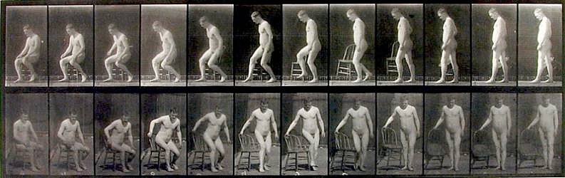 Eadweard Muybridge, Placing Chair and Sitting Down 1887, Collotype