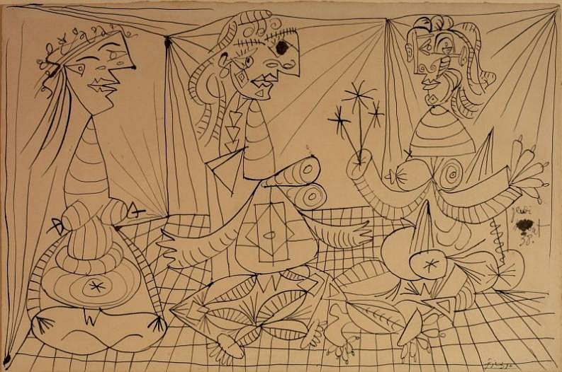 Pablo Picasso, Trois Femmes 1938, Chinese ink on paper