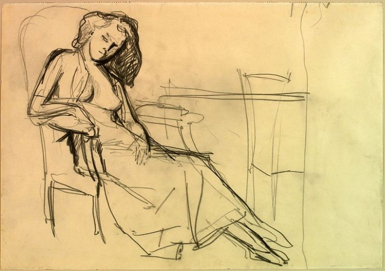 Balthus, Seated Woman in Armchair (Study for The White Skirt, 1937) 1937, Pencil on paper