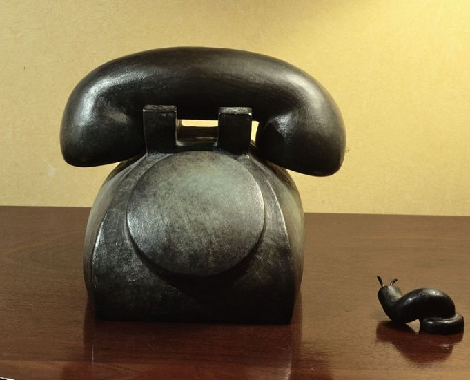 Tom Otterness, Telephone 1986, Bronze with silver nitrate patina