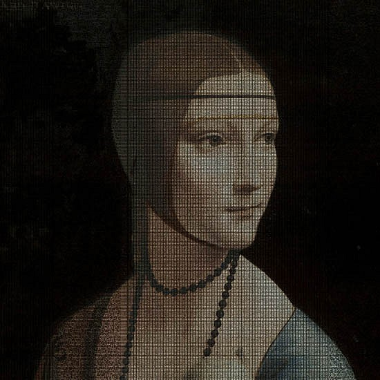 Jean-François Rauzier, After Leonardo da Vinci – Lady with an Ermine, 1489 2013, Double photograph transparency and digital code mounted in a lightbox