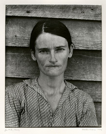 Walker Evans, Alabama Tenant Farmer's Wife (Allie Mae Burroughs) 1936; Printed 1960's, Gelatin silver contact print (black & white)