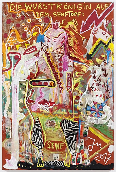 "Jonathan Meese, DR. LOCH ""NESSIE"" LEBT AUF DEM MOND 2017, Oil, acrylic, acrylic modelling paste, Caparol-dispersion binder, acrylic gel, acrylic paste and mixed media on canvas"