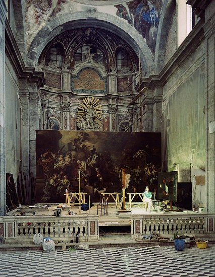 Thomas Struth, Giulia Zorzetti with a painting by Francesco di Mura, Naples 1989, Color coupler print face mounted on plexiglas